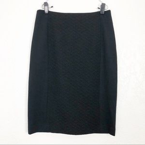 HALOGEN NWT Quilted Knit Pencil Skirt Black 6